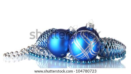 Blue christmas balls isolated on white background - stock photo