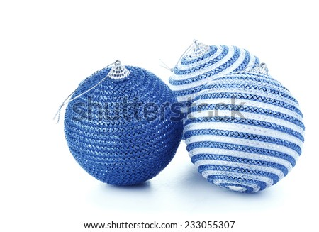 Blue christmas balls on white background - stock photo