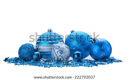 Blue christmas bauble isolated on white background - stock photo