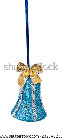 Blue Christmas bell with golden bow isolated on a white background - stock photo