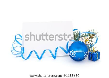 Blue christmas card on white - stock photo