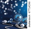 Blue Christmas decoration background - stock photo