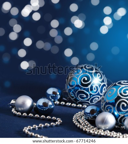 Blue Christmas decoration background - stock photo
