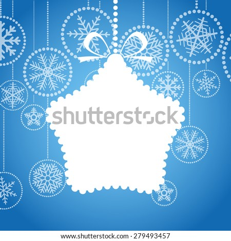 Blue Christmas greeting card with white christmas toy and snowflake background. Raster version - stock photo