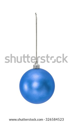 Blue Christmas hanging ball  isolated on white background - stock photo