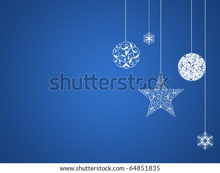 Blue christmas new year background - stock photo