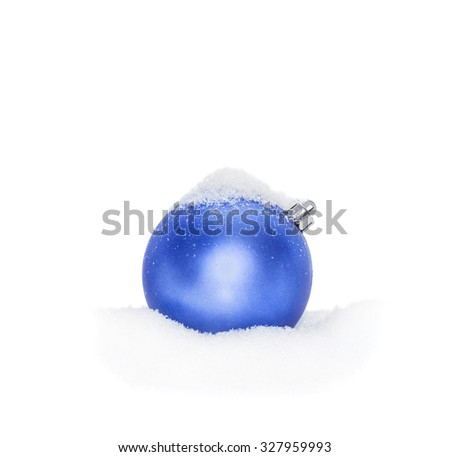 Blue Christmas New Year bauble, ball lying on the white snow, snow-covered, snowy, isolated on a white background - stock photo