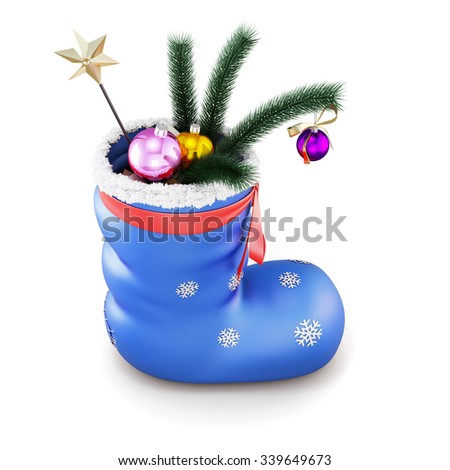 Blue christmas sock with gifts isolated on white background. 3d render image. - stock photo
