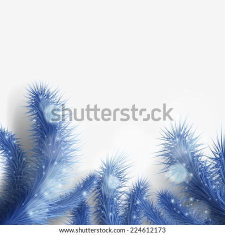 blue Christmas tree branch - stock photo