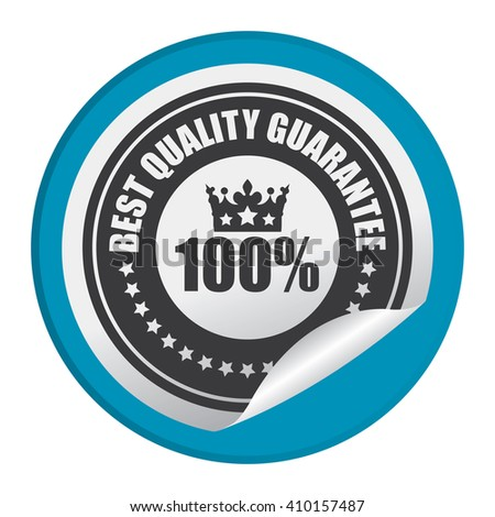 Blue Circle 100% Best Quality Guarantee - Product Label, Campaign Promotion Infographics Flat Icon, Peeling Sticker, Sign Isolated on White Background  - stock photo