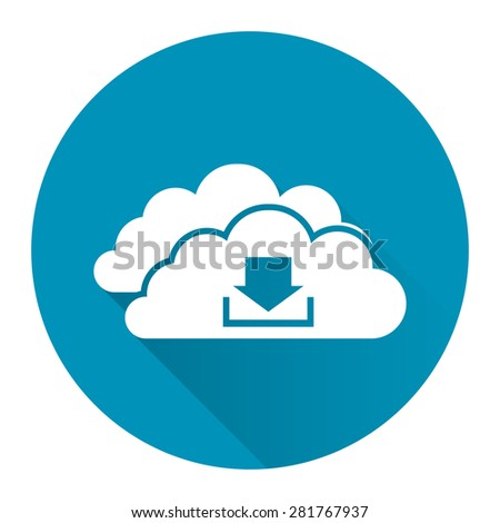 Blue Circle Cloud Computing With Download Flat Long Shadow Style Icon, Label, Sticker, Sign or Banner Isolated on White Background - stock photo