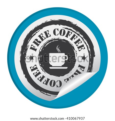 Blue Circle Free Coffee - Product Label, Campaign Promotion Infographics Flat Icon, Peeling Sticker, Sign Isolated on White Background  - stock photo