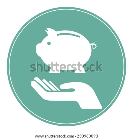 Blue Circle Hand With Piggy Bank Icon, Volunteer, Business, Financial  Concept Isolated on White Background - stock photo