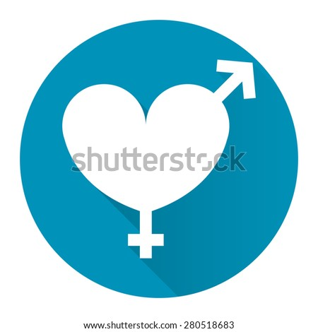 Blue Circle Heart With Male and Female Sign Flat Long Shadow Style Icon, Label, Sticker, Sign or Banner Isolated on White Background - stock photo