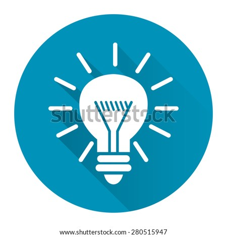 Blue Circle Idea or Light Bulb Long Shadow Style Icon, Label, Sticker, Sign or Banner Isolated on White Background - stock photo