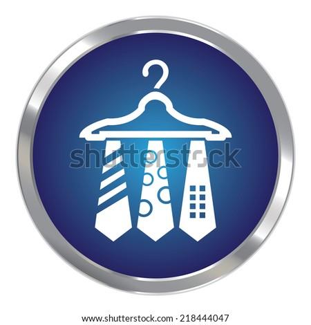 Blue Circle Metallic Necktie Hanger Button Icon or Button Isolated on White Background - stock photo