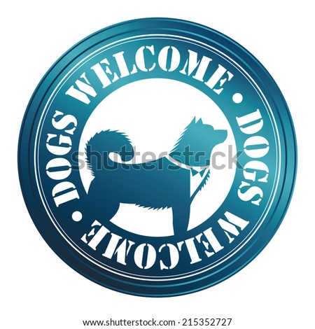 Blue Circle Metallic Style Dogs Welcome Icon, Sticker or Label With Dog Sign Isolated on White Background  - stock photo
