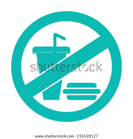 Blue Circle No Food and Drink or No Eating and Drinking Prohibited Sign, Icon or Label Isolate on White Background  - stock photo