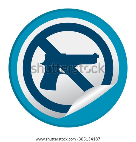 Blue Circle No Gun Prohibited Sign Infographics , Sticker, Icon or Label Isolated on White Background  - stock photo
