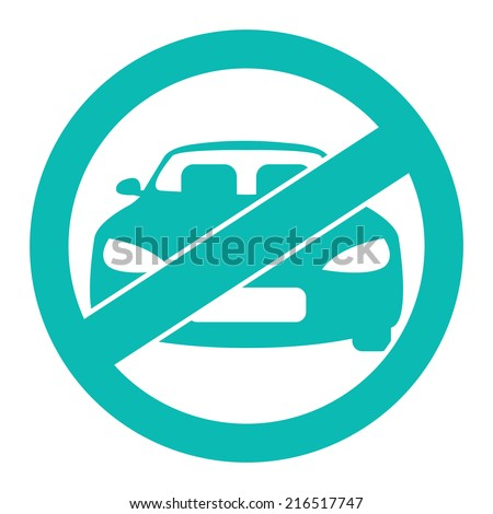Blue Circle No Parking Prohibited Sign, Icon or Label Isolate on White Background  - stock photo