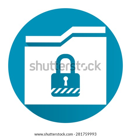 Blue Circle Secret Folder or Data Permission Security Long Shadow Style Icon, Label, Sticker, Sign or Banner Isolated on White Background - stock photo