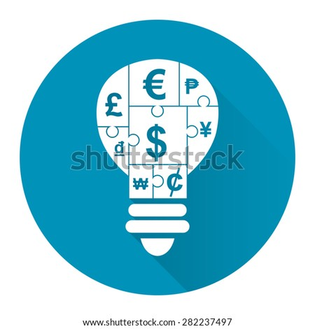 Blue Circle Various Currency Sign Puzzle in Light Bulb Flat Long Shadow Style Icon, Label, Sticker, Sign or Banner Isolated on White Background - stock photo