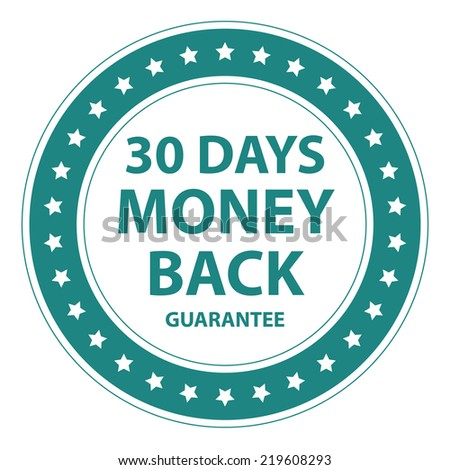 Blue Circle Vintage Style 30 Days Money Back Guarantee Icon, Sticker or Label Isolated on White Background  - stock photo