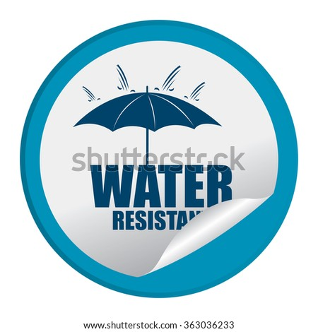 Blue Circle Water Resistant Product Label, Infographics Flat Icon, Peeling Sticker, Sign Isolated on White Background  - stock photo