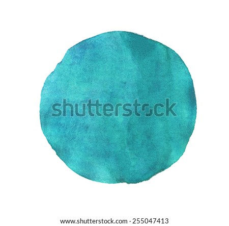 Blue circle watercolor texture paint isolated. Closeup - stock photo