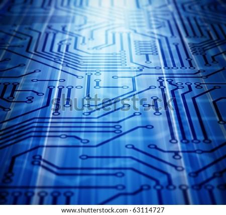 Blue Circuit Board - stock photo