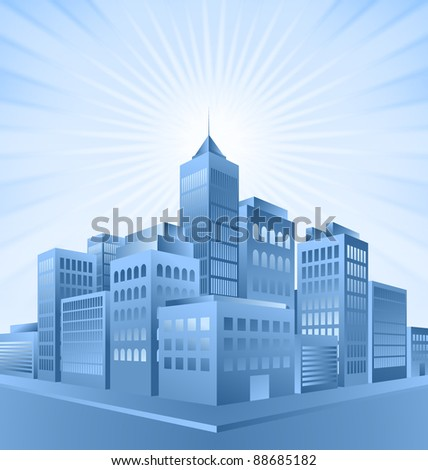 Blue city buildings with sunburst effect in the background - stock photo