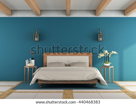 Blue classic bedroom with retro wooden double bed - 3d rendering - stock photo