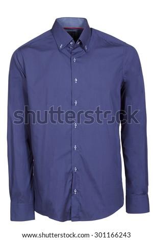 blue classic long sleeve shirt - stock photo