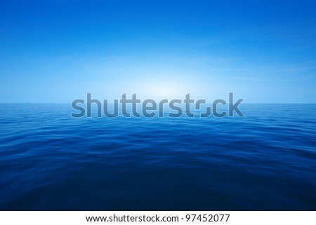 Blue clear sea and sky - stock photo