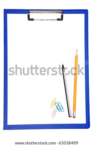 blue clipboard with paper, pen and pencil isolated on white background - stock photo