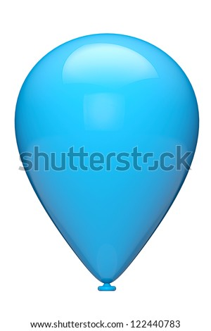 Blue closeup balloon on a white background - stock photo