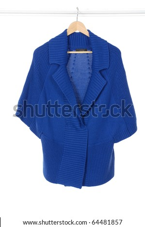 Blue clothes on a hanger studio isolated - stock photo