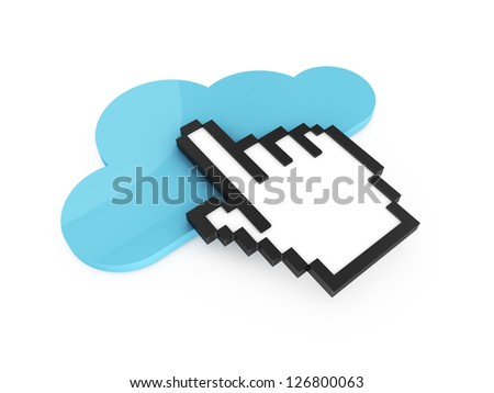 Blue cloud technology button and black pixel hand cursor, pointer for click, isolated on white background. - stock photo