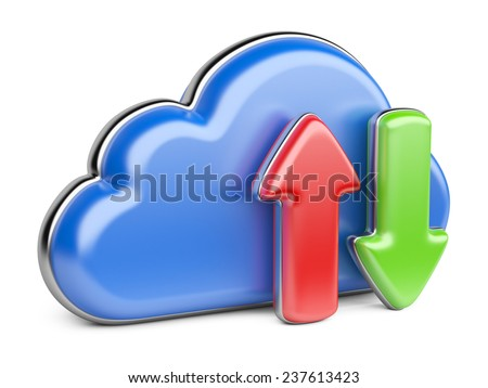 Blue cloud with arrows on white background. Information database concept - stock photo