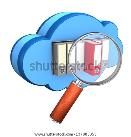 Blue cloud with folders and loupe on the white background. - stock photo