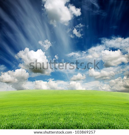 blue cloudy sky with green grass in the meadow in summer - stock photo