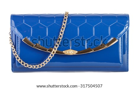 Blue clutch bag isolated on white background - stock photo