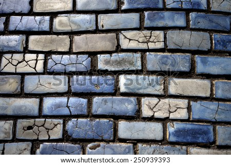 blue cobblestones in Old San Juan, Puerto Rico - stock photo