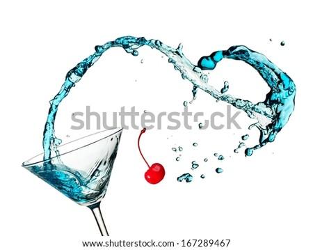 Blue cocktail anchor splash - stock photo