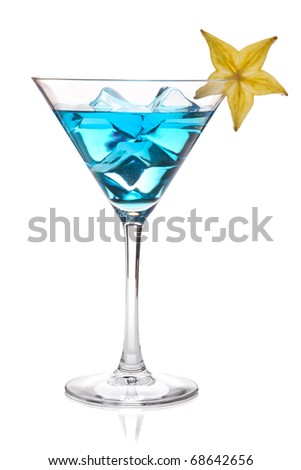 Blue cocktail with carambola in martini glass. Isolated on white - stock photo