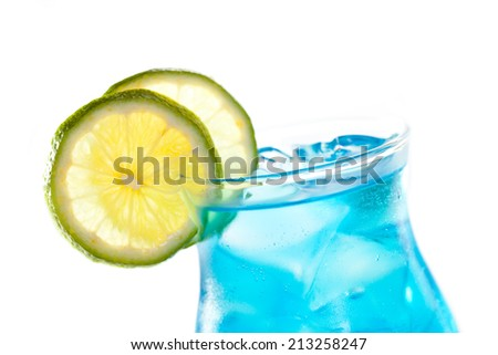 Blue Cocktail with Lime Isolated over White - stock photo