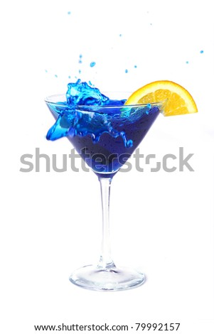 Blue cocktail with orange isolated on white - stock photo