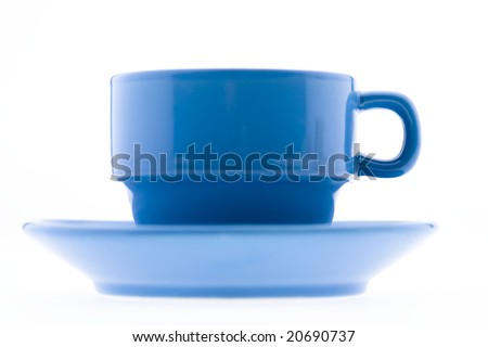 Blue Coffee Mug and Plate - stock photo
