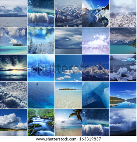blue collage - stock photo