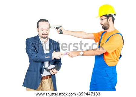 blue collar laborer threating businessman for getting his money for services isolated on white background - stock photo